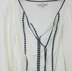 White with black trim  blouse